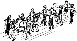 Drawing of contra dancers